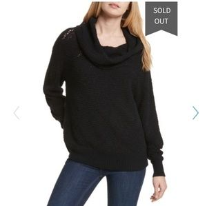 Free people knitted black cowlneck long sweater